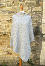 LAST ONE Reduced SALE Cashmere Blend Cable Knit Poncho Light Grey Marl