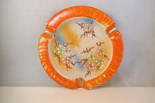 Vintage Made in Japan Ashtray Orange White Flowers