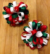One Pair Of Christmas Green, Red And White Grosgrain Ribbon Loopy Bow Clips