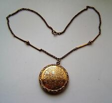 ANTIQUE ROLLED GOLD ROUND PICTURE LOCKET & 17 INS NECK CHAIN PINCH-BECK (N 3)