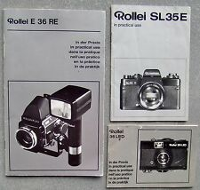 ROLLEI SL35E, 35 LED + E 36 RE INSTRUCTION MANUALS. 3 IN ALL