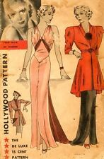 Vintage 30's HOLLYWOOD EVENING* WEDDING DRESS/GOWN & COAT/JACKET Sewing pattern