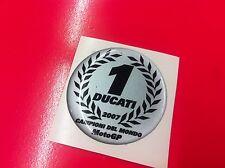 1 Adesivo DUCATI Campione del Mondo 3D Resinato Argento 4 cm