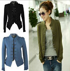 Women Lady Military Long Sleeve Collar Epaulet Double Breasted Short Coat Jacket
