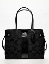 COACH BLACK STRIPE SIGNATURE PURSE TOTE SHOPPER HANDBAG BAG SLIM 4 BOOK&IPAD NWT