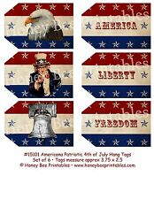 Primitive Grungy Look Hang Tags - Americana Uncle Sam Liberty Bell Eagle 15101