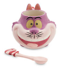 Exclusive Disney Store Cheshire Cat Ceramic Cup Spoon Mug Set Alice in Wonderlan