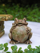 Miniature Dollhouse FAIRY GARDEN Accessories ~  Antiqued Frog Toad Statue ~ NEW