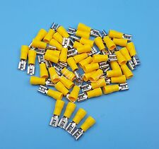 50Pcs 6.3mm Yellow Female Spade Insulated Quick Disconnects Wire Crimp Terminals