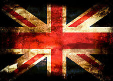 Metal picture Art Union Jack grunge image wall decor sign plaque hanging mount