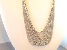 "925 Sterling Silver Multi Chain Criss-Cross Bib Necklace ~18""L+2.5"" drop ~ 27gm"