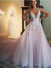 Lace Applique V neck Beach Wedding Dress Tulle Bridal Gown Custom 6 8 10 12 14++