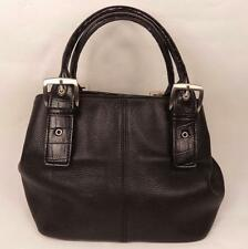 BLACK LEATHER BAG HANDBAG DOUBLE STRAPS CROC PRINT