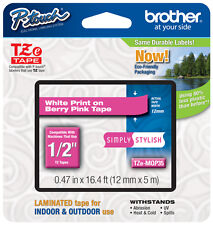 """Brother 1/2"""" (12mm) White on Pink P-touch Tape for PT1290, PT-1290 Label Maker"""