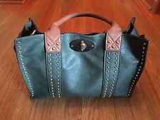 Wilsons Leather Black Rivet Double It Up Green Faux-Leather Tote W/Gold Studds