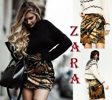 ZARA Mini Skirt Draped Floral Velvet Fabric New (RT$59.90) Velvet Skirt Size S