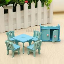 6Pcs Wooden Doll House Furniture Miniature Dinning Room Set Kids Role Play Toys