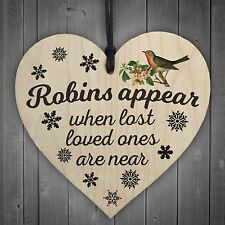 Robins Appear Wooden Hanging Heart Memorial Christmas Tree Decoration Plaque
