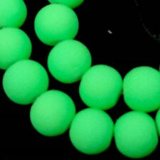"""8mm Matte Frosted Neon Rubber Glass Round Beads -  Green 16"""""""