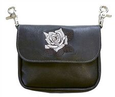 Genuine Leather Belt Bag - Hip Clip Purse - Embroidered Silver Rose - USA MADE