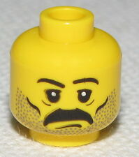 LEGO NEW MINIFIGURE HEAD WITH BLACK MUSTACHE BANDIT WESTERN FACE