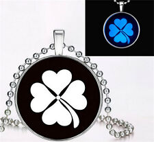 Glow in the Dark Vogue Clover Cabochon Tibet silver Glass Pendant Necklace