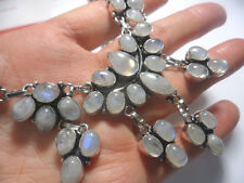 HUGE LARGE AB RAINBOW MOONSTONE VTG VICTORIAN STYLE 925 STERLING SILVER NECKLACE