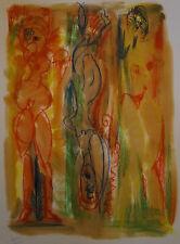 """ROBERT CALIX (1919/2008) Pastel  """" COMPOSITION AU 3 FEMMES   """""""