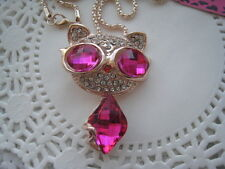"BETSEY JOHNSON PINK CRYSTAL OUTER SPACE CAT PENDANT NECKLACE  26""  # 292"