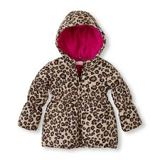 NWT CHILDRENS PLACE GIRLS TODDLER 4T Leopard Print PUFFER JACKET COAT HOODDED