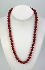 """VINTAGE MEDITERRANEAN RED CORAL BEAD NECKLACE 22"""" LONG BEADS AVERAGE 9.25MM"""