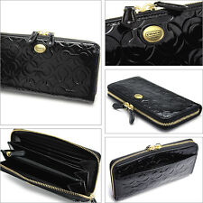 NWT COACH PEYTON OP ART EMBOSSED PATENT LEATHER ZIP WALLET 49962 Brass / Black