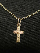"10kt  Two tone Gold Petite Cross on Gold Filled Chain 15"" ~ Perfect for Child"