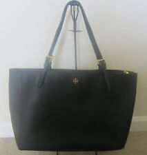Authentic Tory Burch Saffiano Leather Black York Buckle Large Tote Handbag GUC