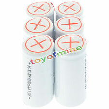 6x Sub C SubC With Tab 6000mAh 1.2V Ni-MH Rechargeable Battery White High Power