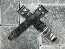 21mm Leather Strap Deployment Buckle Black Watch Band SET IWC Top Gun PILOT 21