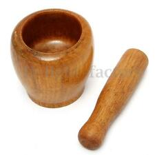 Trumpet Wooden Garlic Ginger Mortar and Pestle Grinding Bowl Mixing Device IDE