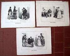 1850 LOTTO DI 3 INCISIONI CON SCENETTE NOBILIARI 'CERTE STORIELLE'