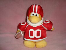 "Disney Club Penguin Red Football Player Plush 8"" No Coin"