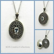 Antique Style 925 Sterling Silver Marcasite & Blue Topaz Oval Locket with Chain