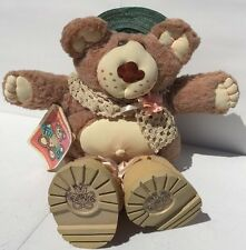 Hattie Furskin Fur-Real Bear Stuff Animal Xavier Roberts 1985 Green Hat Pink Flo