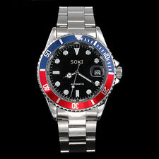 New Red Blue SOKI Date Analog Automatic Mens Man Mechanical Wrist Band Watch S84