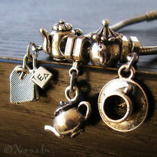 5PCs Teapot Teacup Teabag Charm Beads For European Charm Bracelets And Necklaces