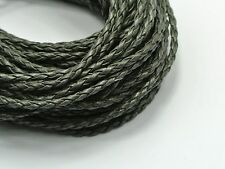 32.8 Feet Grey Braided Leatheroid Jewelry String Cord 3mm For horsehair bracelet