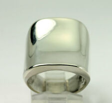 Vintage Sterling Silver Concave Wide Band Ring Size 6.75