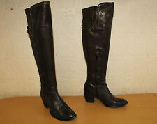 Brown Leather MERIPE Zip Pull On Over Knee Biker Riding Boots Size 2 / 35 Pirate
