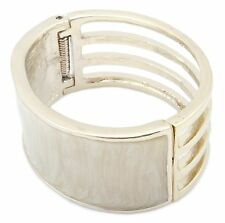 Zest Triple Row Cuff Bangle with Pearlescent Panel Golden