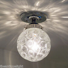 613 Vintage 60s 70s Ceiling Light Lamp Fixture Glass  mid-century mod retro