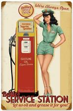 Bettie Page Pin Up Girl Service Station Metal Sign Man Cave Garage Shop RGG028