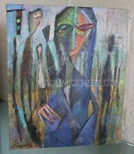 Vintage 95 SIGNED LISTED Japanese Nagai MODERNIST CUBIST Abstract OIL PAINTING 2